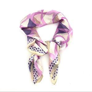 Vintage silk pastel scarf geometric print 80s